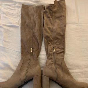 Over the knee block heel suede boots